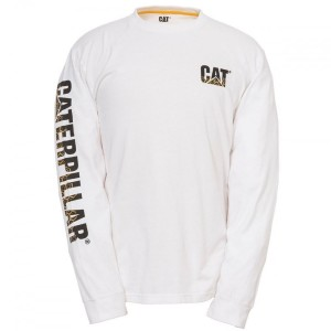 Caterpillar Custom Banner Long Sleeve T-Shirt White