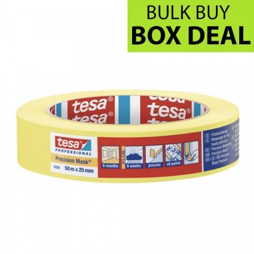 "Tesa Yellow Precision Masking Tape 1"" / 25mm Box of 36"