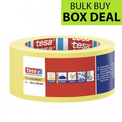 "Tesa Yellow Precision Masking Tape 2"" / 50mm Box of 18"