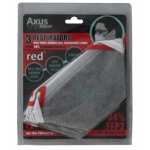Axus Decor Red Respirator Fold Flat FFP2 3 PK