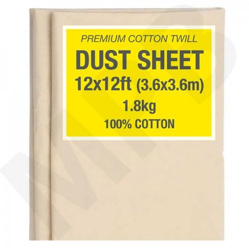 12 x 12ft Premium Cotton Twill Dust Sheet