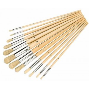 Round Tipped Artist Paint Brush Set 12 Piece
