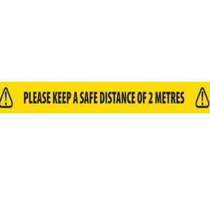 Safe Distance Floor Tape 2 Metre Distance/Yellow Hazard 48mm x 33m