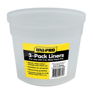 Uni-Pro Liners for 2.5L Heavy Duty Metal Paint Pot 3 Pack